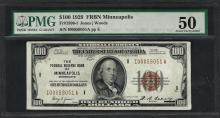 1929 $100 Federal Bank of Minneapolis Fr.1890-I Note PMG About Uncirculated 50