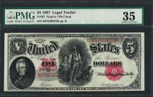 1907 $5 Woodchopper Legal Tender Note Fr.85 PMG Choice Very Fine 35