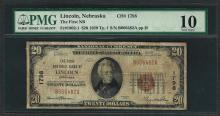 1929 $20 National Currency Note Lincoln, Nebraska CH# 1798 PMG Very Good 10