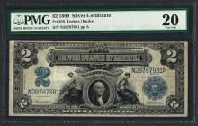 1899 $2 Mini Porthole Silver Certificate Note Fr.256 PMG Very Fine 20