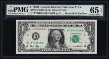 2001 $1 Federal Reserve Note Mismatched Serial Number ERROR PMG Gem Unc. 65EPQ