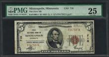 1929 $5 National Currency Note Minneapolis, Minnesota CH# 710 PMG Very Fine 25