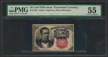 1874 Ten Cents Fifth Issue Fractional Currency Note PMG About Uncirculated 55