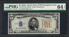 1934A $5 Silver Certificate WWII Emergency North Africa Note PMG Choice Unc. 64E