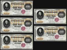 Lot of (5) Consecutive 1900 $10,000 Gold Certificate Notes
