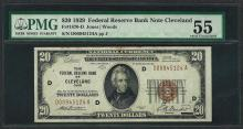 1929 $20 Federal Bank of Cleveland Fr.1870-D Note PMG About Uncirculated 55