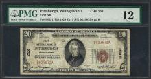 1929 $20 National Currency Note Pittsburgh, Pennsylvania CH# 252 PMG Fine 12