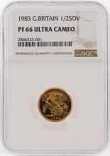 1983 1/2 Sovereign Great Britain Gold Coin NGC PF66 Ultra Cameo
