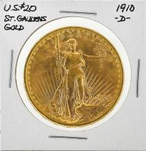 1910-D $20 St. Gaudens Double Eagle Gold Coin