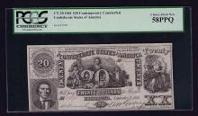 1861 $20 Contemporary Counterfeit Confederate Note PCGS Choice New 58PPQ