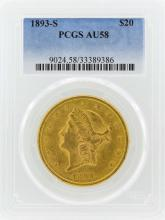 1893-S $20 Liberty Head Double Eagle Gold Coin PCGS AU58