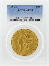 1896-S $20 Liberty Head Double Eagle Gold Coin PCGS AU58
