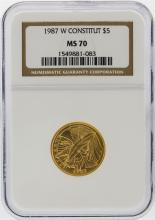 1987-W $5 U.S. Constitution Bicentennial Commemorative Gold Coin NGC MS70