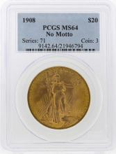 1908 NM $20 St. Gaudens Double Eagle Gold Coin PCGS MS64