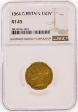 1864 Great Britain Gold Sovereign Coin NGC Graded XF45