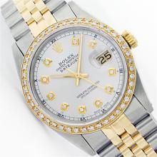 Mens Rolex Two Tone 1ctw Diamond Datejust Wristwatch