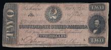 1864 $2 The Confederate States of America Note