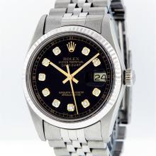 Rolex Mens Stainless Steel Black Diamond Datejust Wristwatch