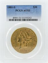 1881-S $20 Liberty Head Double Eagle Gold Coin PCGS AU53