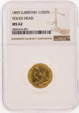 1893 Great Britain Half Sovereign Veiled Head Gold Coin NGC MS62