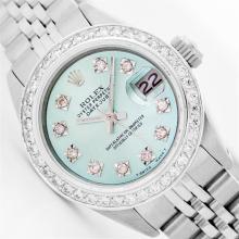 Womens Rolex Stainless Steel Diamond Datejust Wristwatch