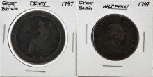 Great Britain 1799 Half-Penny & 1797 Penny Coins