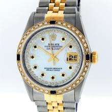 Gents Rolex Two Tone String Diamond MOP and Sapphire Datejust Wristwatch