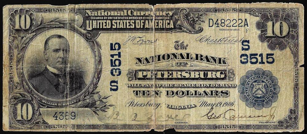 1902DB $10 National Bank of Petersburg, Virginia CH#3515 National Currency Note