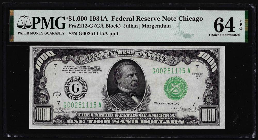 1934A $1,000 Federal Reserve Note Chicago Fr.2212-G PMG Choice Uncirculated 64EPQ