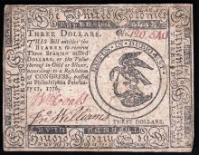 February 2, 1776 $3 Spanish Milled Dollar Colonial Continental Currency