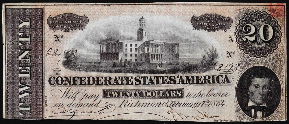 1864 $20 The Confederate States of America Note