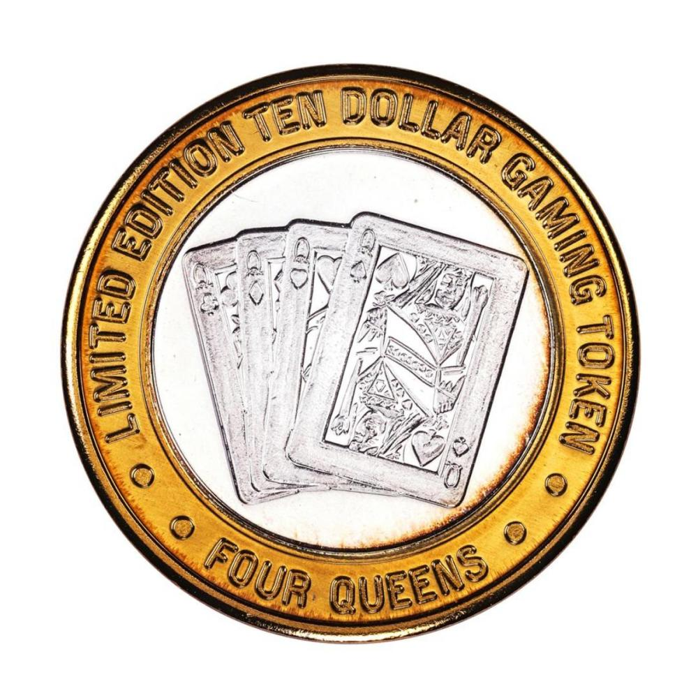 .999 Silver Four Queens Casino Hotel Las Vegas $10 Limited Edition Gaming Token