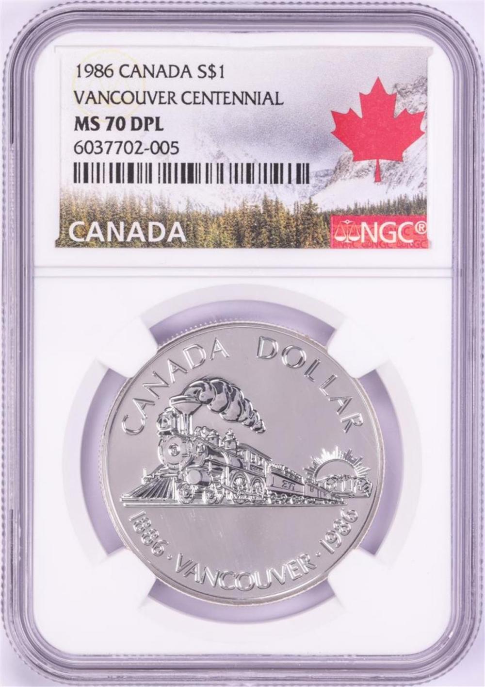 1986 $1 Canada Vancouver Centennial Silver Dollar Coin NGC MS70 DPL