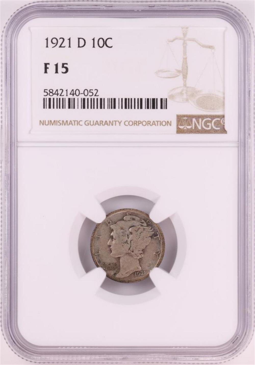 1921-D Mercury Dime Coin NGC F15