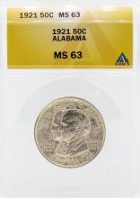 1921 Alabama Centennial Commemorative Half Dollar Coin ANACS MS63