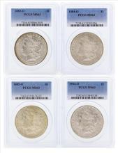 Set of (4) $1 Morgan Silver Dollar Coins PCGS MS63