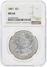 1887 $1 Morgan Silver Dollar Coin w/ Nice Toning NGC MS64