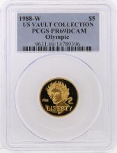 1988-W $5 US Vault Collection Olympic Gold Coin PCGS PR69DCAM