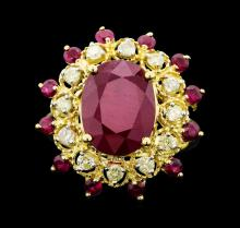 14KT Yellow Gold 8.45ctw Ruby and Diamond Ring