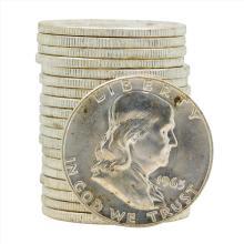 Roll of (20) 1963-D Brilliant Uncirculated Franklin Half Dollar Silver Coins