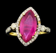 14KT Yellow Gold 3.74ct Ruby and Diamond Ring