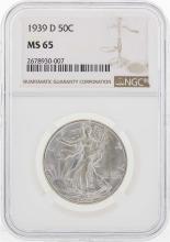 1939-D Walking Liberty Half Dollar Coin NGC MS65
