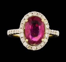 14KT Yellow Gold 4.19ct Ruby and Diamond Ring
