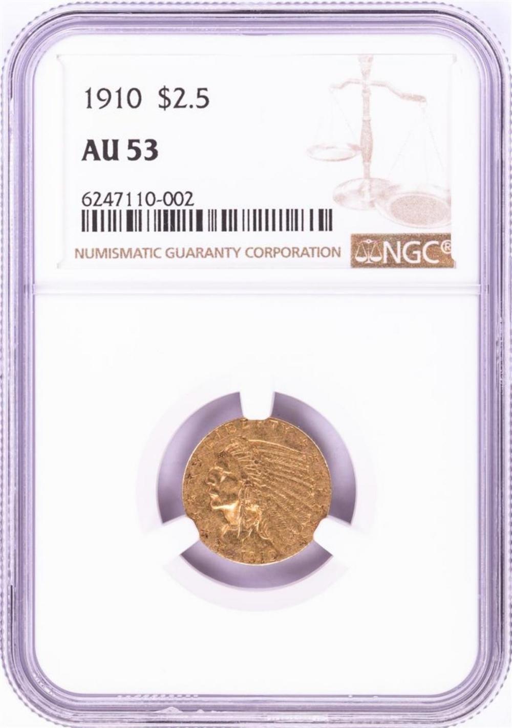 1910 $2 1/2 Indian Head Quarter Eagle Gold Coin NGC AU53