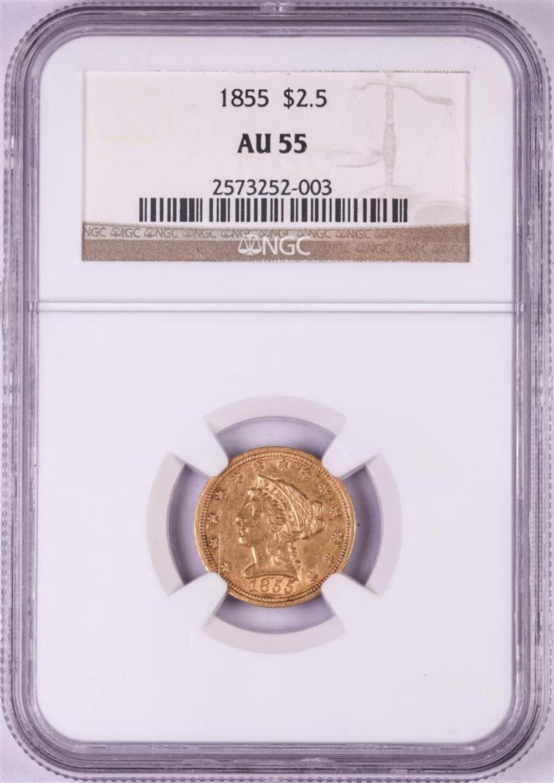 1855 $2 1/2 Liberty Head Quarter Eagle Gold Coin PCGS AU55