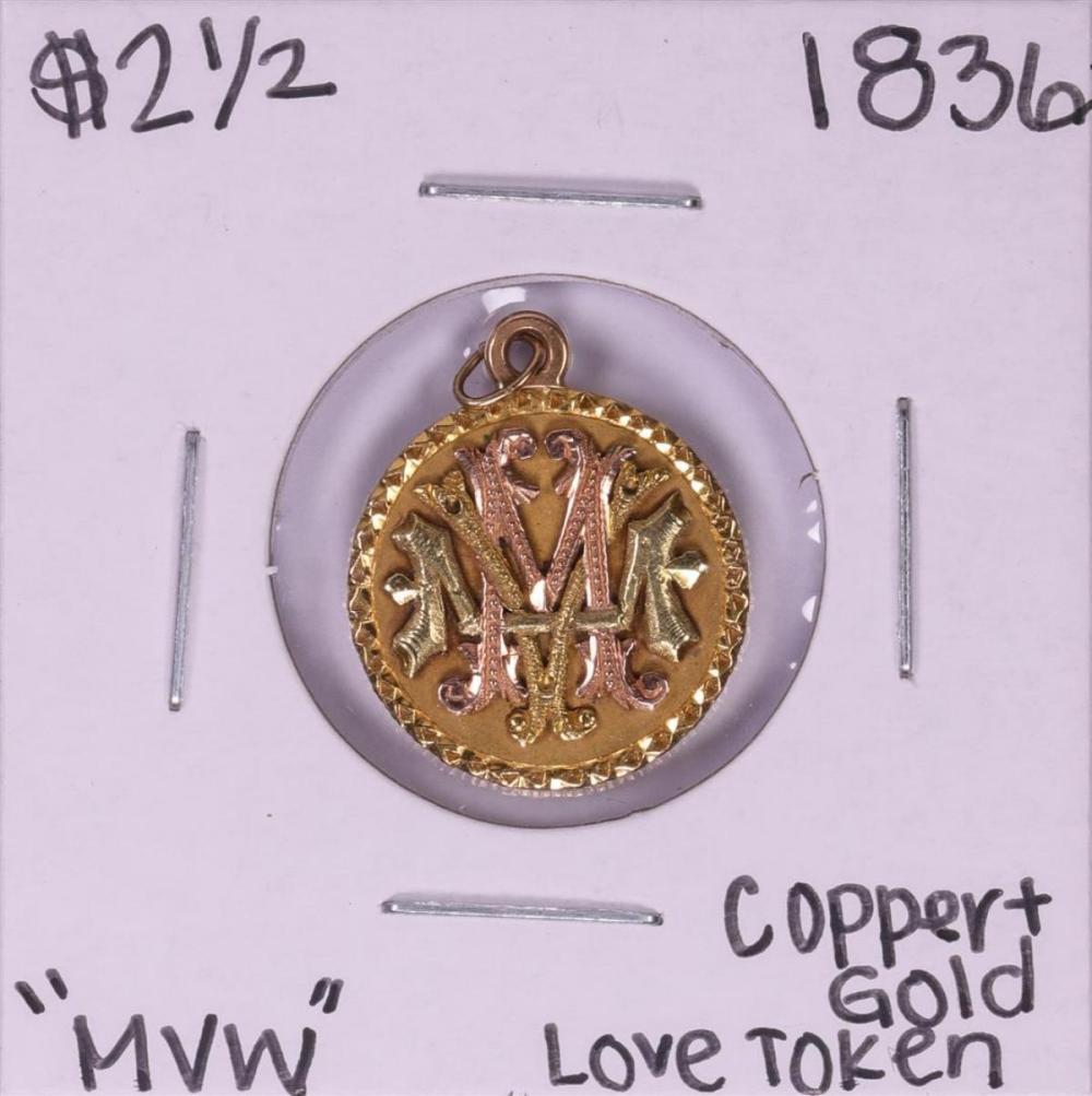 1836 $2 1/2 Classic Head Quarter Eagle Gold Coin Love Token Pendant
