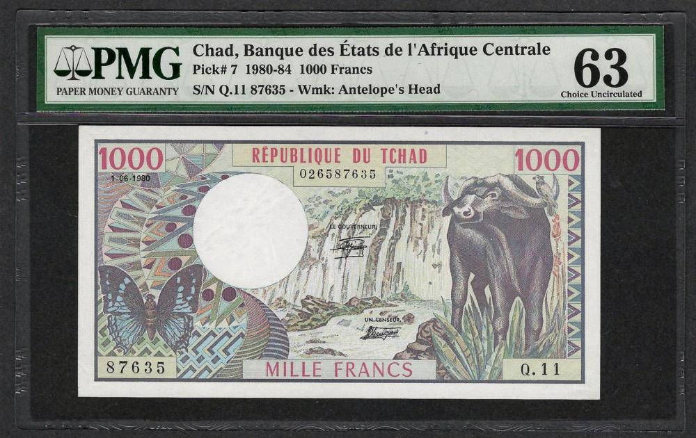 1980-84 Banque Etats Chad Africa 1000 Francs Note Pick# 7 PMG Choice Uncirculated 63