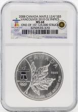 2008 $5 Canada Maple Leaf Vancouver 2010 Olympics NGC MS68