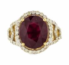 14KT Yellow Gold 8.23ct Ruby and Diamond Ring