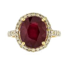 14KT Yellow Gold 7.22ct Ruby and Diamond Ring